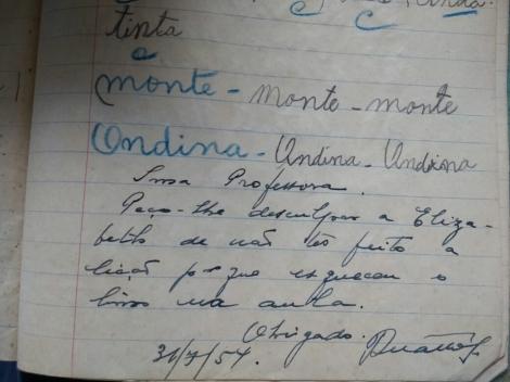 letra do pai no meu caderno de alfabetização