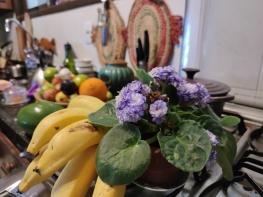 cozinha e flor e bananas